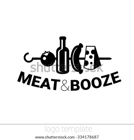 Meat and booze original logo design template for beer house, bar, pub, brewing company, brewery, tavern, taproom, alehouse, dram shop, restaurant, skewer