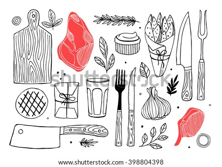 Meat composition. Meat restaurant. Vector illustration - stock vector