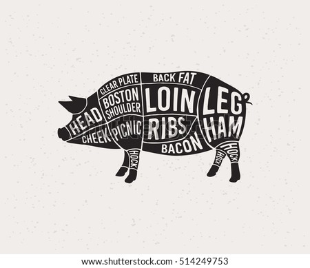 Meat Cuts Diagrams Butcher Shop Scheme Stock Vector 514249753