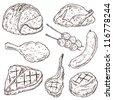 Meat Doodle Vector Set - stock vector