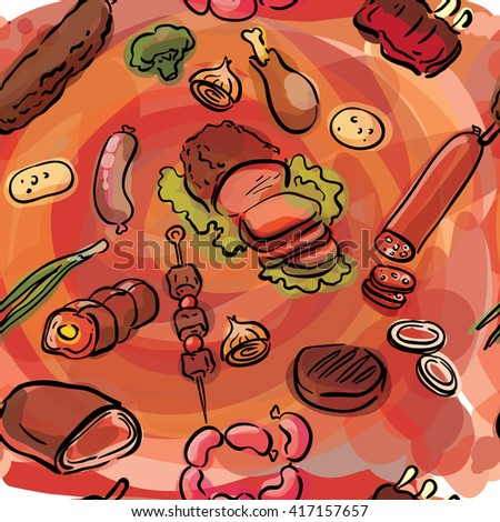 Meat food seamless sketch illustration