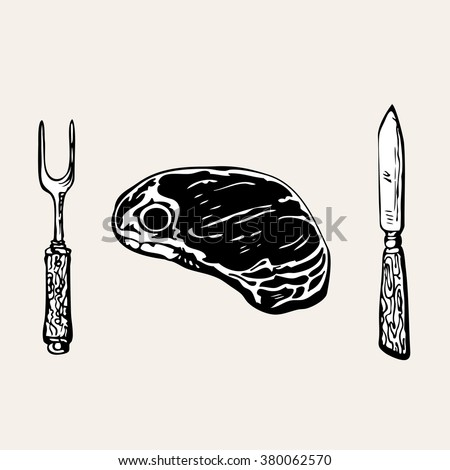 Meat for eat. Vintage black and white ink drawing vector illustration with knife, fork and great steak. Hand drawn sketch barbecue concept for food card and menu. Vector is EPS8. - stock vector