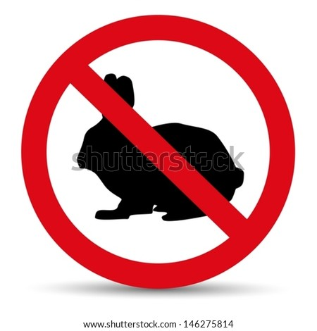 Meat forbidden sign. Silhouette of hare and rabbit. - stock vector