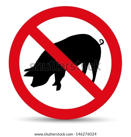 Meat forbidden sign. Silhouette of pig. - stock vector