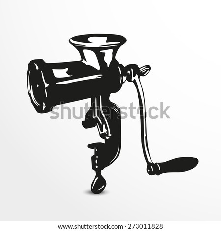 Meat grinder. Vector illustration. Black and white view.