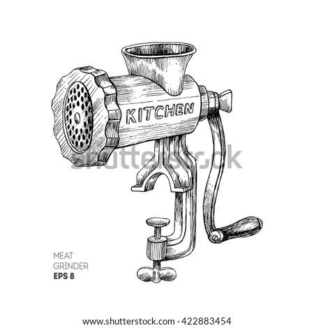 Vintage Kitchen Utensils Illustration meat grinder vintage kitchen equipment engraved stock vector