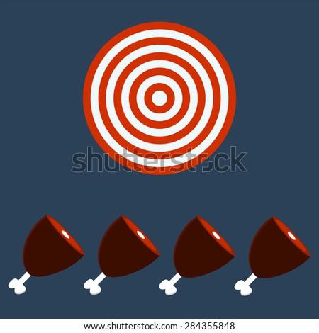 meat, Ham, Gammon. Target concept. - stock vector