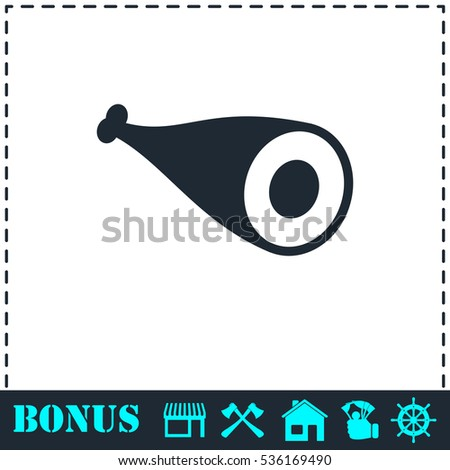 Meat icon flat. Simple vector symbol and bonus icon