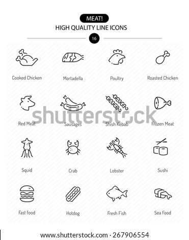 Meat Icons, Line Series: line meat icons including chicken, red meat, cow, sausages, fish and sea food - stock vector