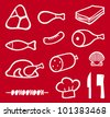meat icons set, chef hat, knife and meat cleaver icon (bacon, salami, skewers, shell, fish, sausage, steak, pork leg, ham, meat icons symbols) - stock photo