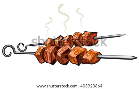 meat kebab grilled, veal, pork, mutton, steaks on skewers, picnic with grilled meal