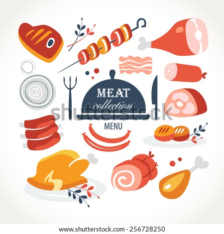 meat menu collection - stock vector