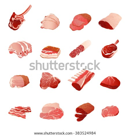 Meat products icons set with sausage ribs and fillet flat isolated vector illustration