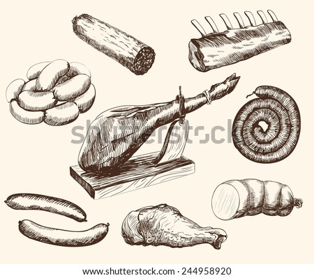 meat products set of vector sketches on a white background - stock vector