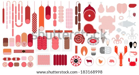 Meat & Seafood icon set - stock vector