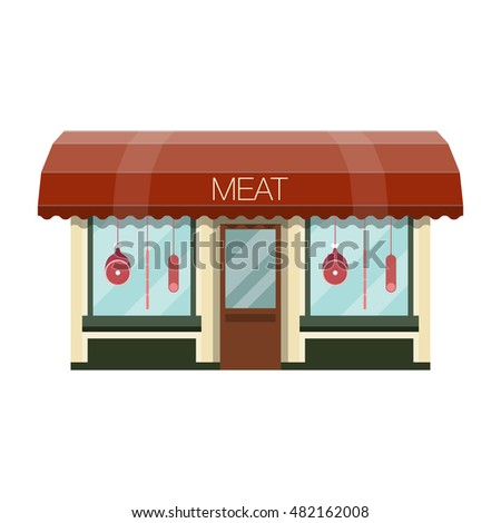 Meat shop facade.  Flat design vector illustration of small business concept.The sale of meat. Butcher shop