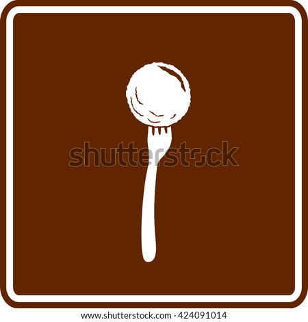 meatball in fork sign - stock vector