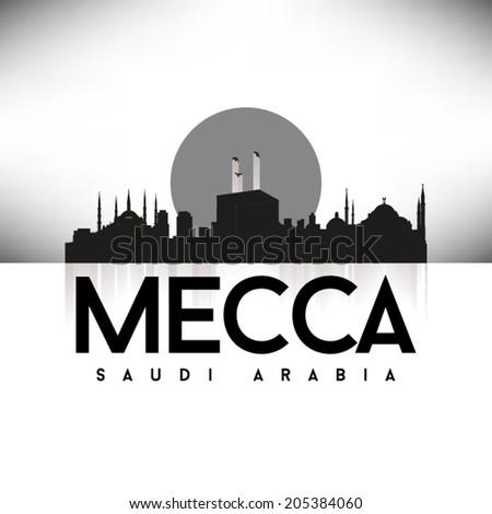 Mecca, Saudi Arabia Black Skyline Design, vector illustration. Typographic city silhouette - stock vector