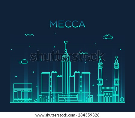 Mecca skyline detailed silhouette. Trendy vector illustration, linear style. - stock vector