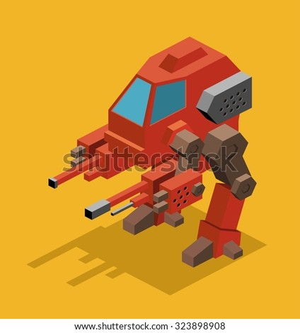 Mecha Robot. Isometric vector illustration - stock vector