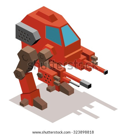 Mecha war robot. Isometric vector illustration - stock vector
