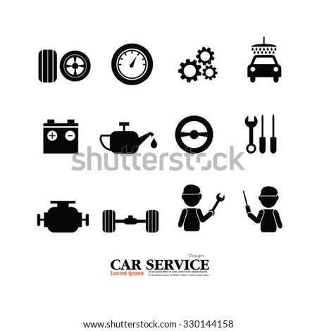 Mechanic and Car Maintenance Service Icons . Automobile Check Up.Repair.car service icon.vector illustration - stock vector