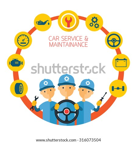 Mechanic and Car Maintenance Service Icons Round Frame, Automobile Check Up, Repair - stock vector