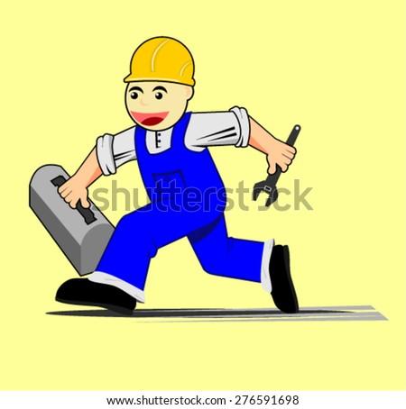 mechanic, cartoon - stock vector