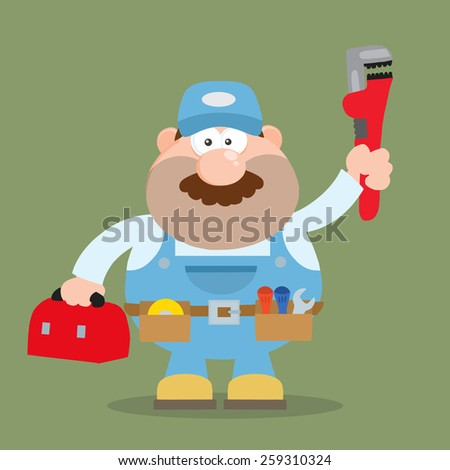Mechanic Cartoon Character With Wrench And Tool Box Flat Style. Vector Illustration With Background - stock vector