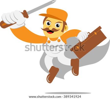 mechanic hero with screwdriver - stock vector