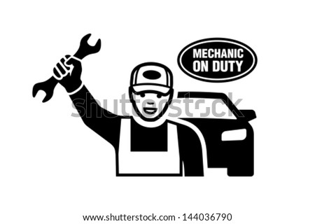 Mechanic holding a wrench. - stock vector