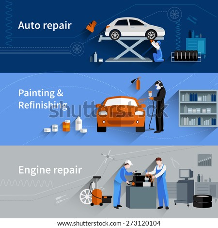 Mechanic horizontal banners set with auto engine repair elements isolated vector illustration - stock vector