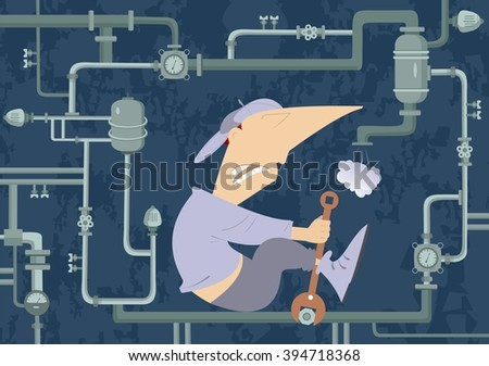 Mechanic Illustration. Comic mechanic hardly tightens the bolt and repairs pipe construction - stock vector