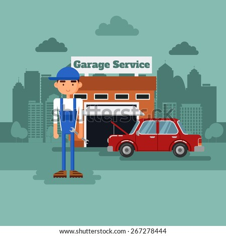 Mechanic in a garage with the car.  - stock vector