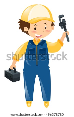 Mechanic in blue uniform illustration