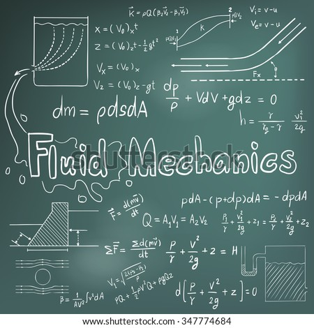 Mechanic of Fluid law theory and physics mathematical formula equation, doodle handwriting icon in blackboard background with hand drawn model, create by vector