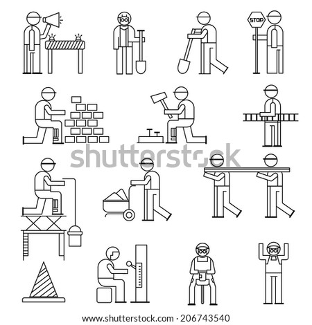 mechanic people icons, working people in construction site, line theme - stock vector
