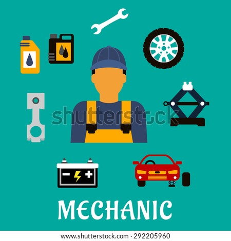 Mechanic profession flat concept with man in uniform overalls and cap, car fixed on jack screw, wheel, piston crankshaft, wrench, motor oil, canisters and battery icons - stock vector