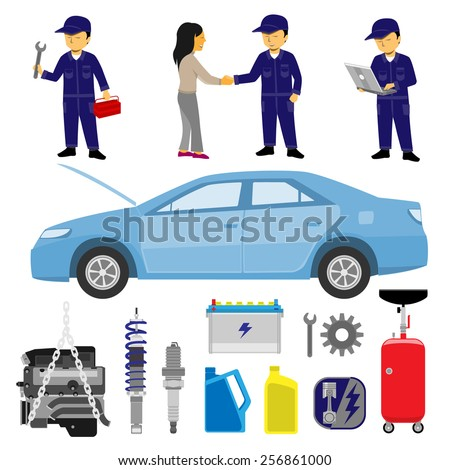 Mechanic Technician Vehicle Items Set - stock vector