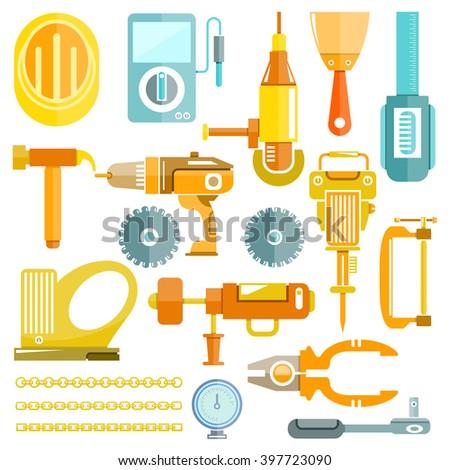 mechanic tools, color flat design - stock vector