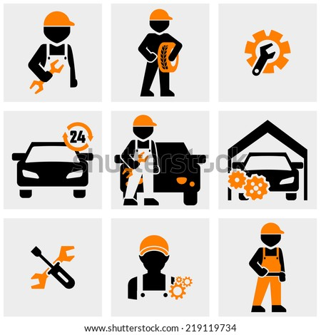 Mechanic vector icons set on gray - stock vector