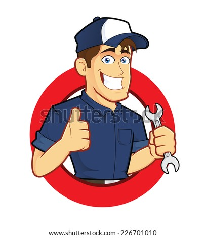 Mechanic with Circle Shape - stock vector