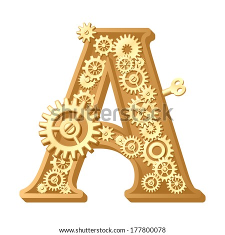 Mechanical alphabet made from gears. Letter a - stock vector