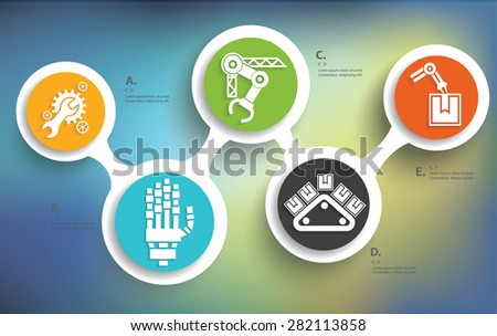 Mechanical and industry design on blur background,info graphic design,clean vector - stock vector