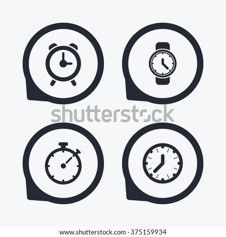 Mechanical clock time icons. Stopwatch timer symbol. Wake up alarm sign. Flat icon pointers. - stock vector