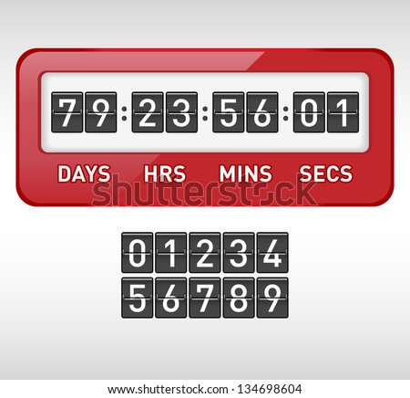 Mechanical countdown timer. Vector illustration.