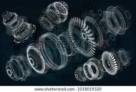 Mechanical diagram vector drawing circles geometric stock vector mechanical diagram vector drawing with circles and geometric parts of the mechanism engine ccuart Choice Image