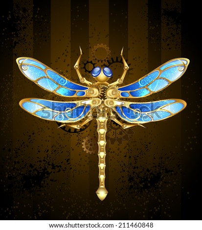 mechanical dragonfly brass and gold with wings decorated with blue glass and gears - stock vector