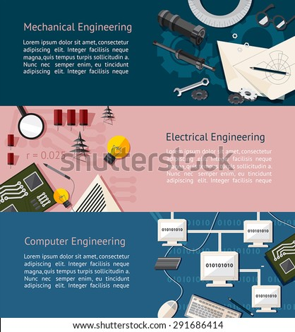 Mechanical, electrical, and computer engineering education info graphic banner template layout background website page design, create by vector - stock vector