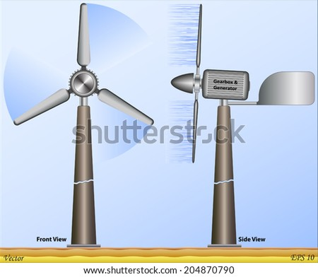 Mechanical Energy - Wind Turbine - stock vector